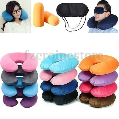 Inflatable Travel U-Shape Neck Pillow Soft Car Head Rest Sleep Cushion Office