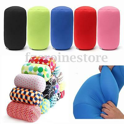 Micro Microbead Roll Cushion Neck Waist Back Head Support Sleep Pillow Travel