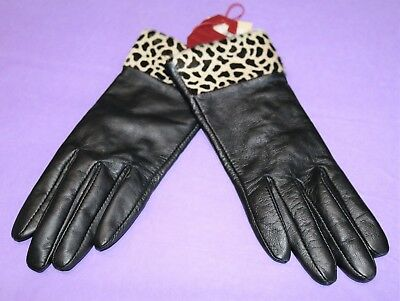 DENTS Brand Black with Leopard Print Trim Leather Gloves Size S BNWT