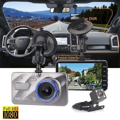 "4"" Dash Cam FHD 1080P Front and Rear Car Dashboard Camera 170° DVR Recorder NEW"