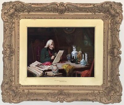 The Old Connoisseur Antique Oil Painting by George Fox (British, 1816-1910)