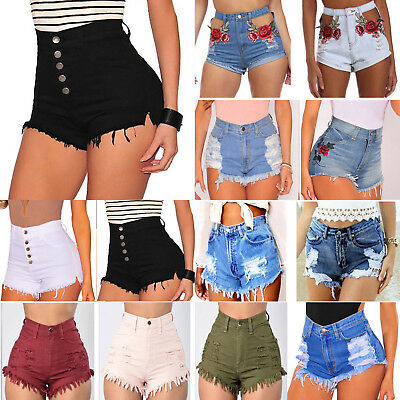 AU Women's Shorts Jeans Vintage High Waist Ripped Denim Hotpants Summer Trousers
