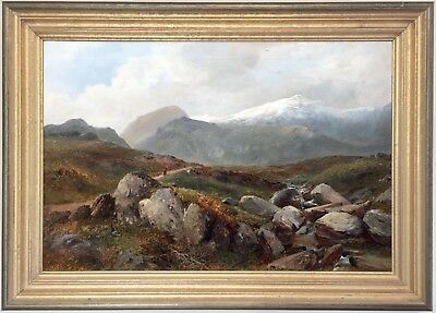 Mountain Landscape North Wales Antique Oil Painting by David Bates (1840-1921)