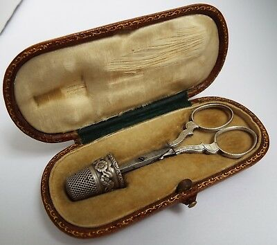 Beautiful Rare Cased Antique 19Th Century French 1840 Solid Silver Sewing Set