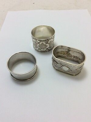 Silver - Napkin Rings - Some Hallmarks - Mixed Makes etc. Total Weight 50g