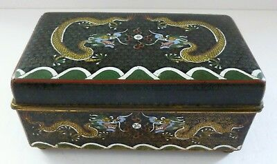 Antique Brass Cloisonne Enamel Chinese Dragon Pearl Japanese Trinket Cigar Box