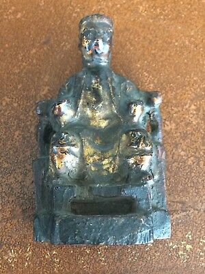 Antique Carved Wooden Gilded Figure Chinese Emperor Very Old Unusual Piece