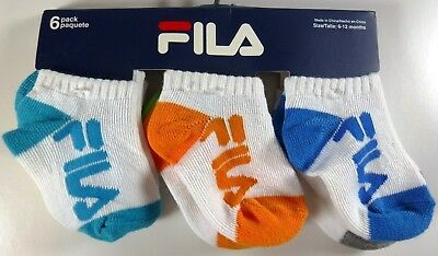 6 Pairs Boys Girls Fila Toddlers Infant Multicolor Cotton Socks Size 6-12M F672