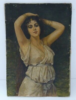 Antique Oil Painting Canvas Art Nouveau Nymph Lady Figure Neoclassical Picture