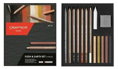 Caran Dache Flesh & Earth Set Drawing Sketching Academic Art Set (15 Pieces)