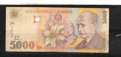 ROMANIA #107a 1998 VG CIRCULATED 5000 LEI OLD BANKNOTE PAPER MONEY BILL NOTE