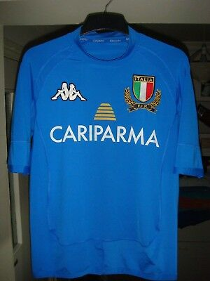 Italy HOME Rugby Union Shirt - 2009/10 - KAPPA - SMALL Adult - Skinny Fit - B49