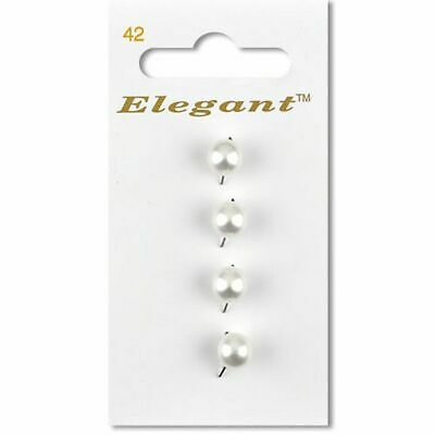 White 7mm Round Pearl Buttons Sewing Craft Knitting (4 Per Card)