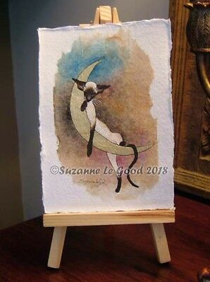Siamese Cat cat Moon art painting on teabag mounted original by Suzanne Le Good