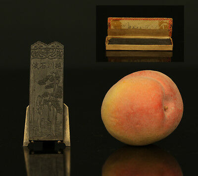 A RARE antique CHINESE INK CAKE STICK CALLIGRAPHY 詹 同文 Zhan Tongwen 19th CENTURY
