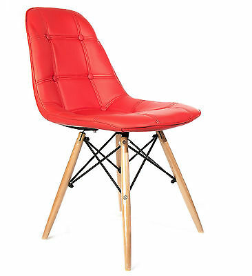 REBOXED Dining Chair with Solid Wood Legs Padded Design Furniture Single in Red