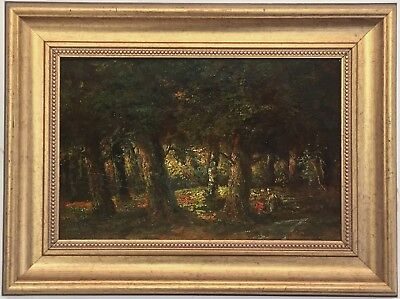 Barbizon Forest Antique Oil Painting 19th Century French - Diaz de la Pena