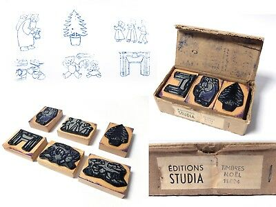 6 Vintage 1950s FRENCH SCHOOL CHRISTMAS RUBBER STAMPS TIMBRES STUDIA SANTA TOYS
