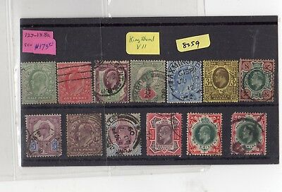 Great Britain Sc. #127 - #138a Used King Edward VII Set SCV. $173.00 (RS8259)