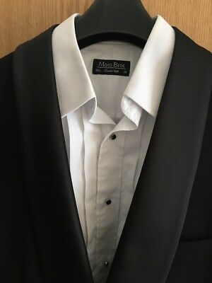 mens black tuxedo suit Moss bros, used once - 40R chest, 34R trousers.