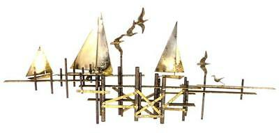 Curtis Jere (1910-2008) Mixed Metal Sculpture Cut & Molded Sailboats Signed
