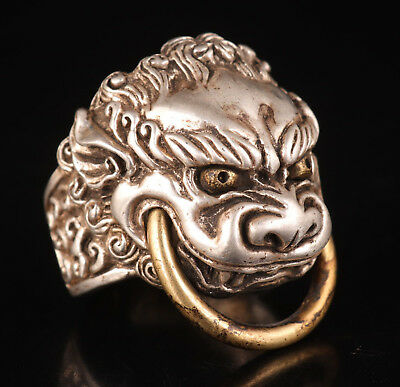 Tibetan Silver Tiger Head Ring Old Handmade Craft Collection Mascot