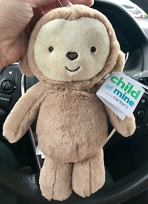 Child Of Mine By Carter's Monkey Beanbag Plush Baby Toy Rattle New Unisex Jungle