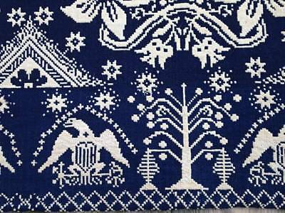Antique 1834 Blue Woven Coverlet American Eagle & Shield Signed BIRD LG