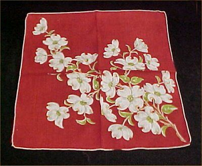 Vintage Antique Hankie Handkerchief Printed Dogwood Blossoms on Red 50s Estate
