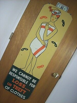 1920s~GLENWOOD HOT SPRINGS~THEFT OF CLOTHES~SWIMMING POOL WARNING TIN SIGN~51x16