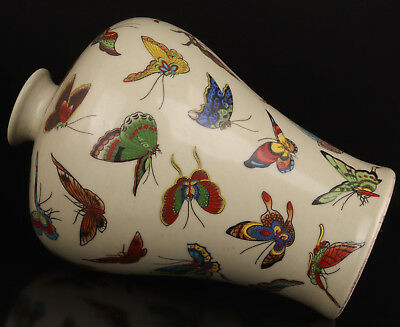 Handicraft Porcelain Vase Handmade Painting Butterfly Old Republic Period