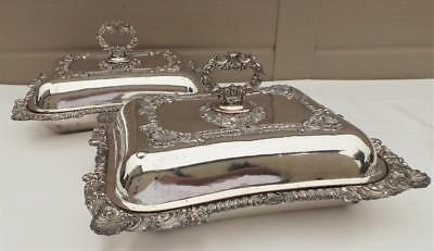 Wonderful Heavy Quality Pair Of Old Sheffield Plate Silver Mounted Entree Dishes