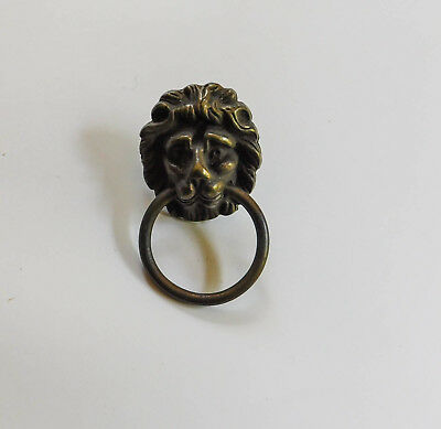 Vintage Lion Head Brass Ring Handle Drawer Furniture Cabinet Pull