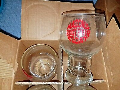 4 Vintage Glasses Old Mason's Root Beer Float Glass 70's shape MIB
