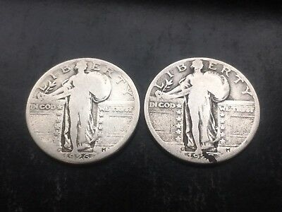 Lot of 2 Standing Liberty Quarters - 1926-D and 1927-D  - US Coins