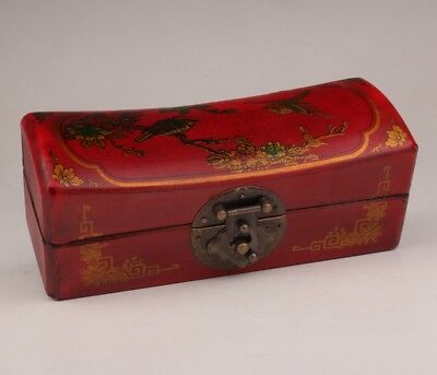 Chinese Red leather jewelry box flower bird retro old wedding dowries