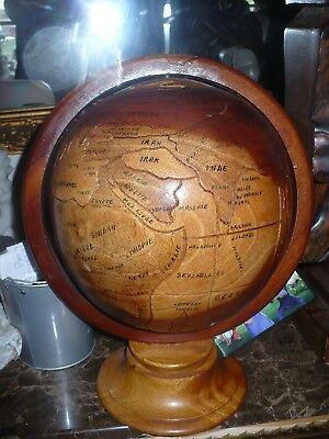 Vintage Hand Carved Wood Globe