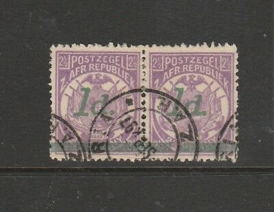 Transvaal 1895 1d on 2 1/2d Used pair, round dot & square dot SG 214 & 214d