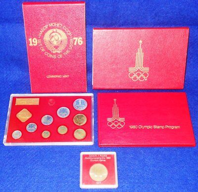 1976 Ussr / Russia 9-Coin Proof Set W/1980 Olympic Stamp Set & 1977 Olympic Coin