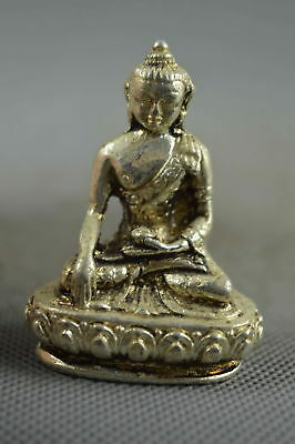 Collectable Handwork Miao Silver Carve Buddha Sit Lotus Pray Auspicious Statue
