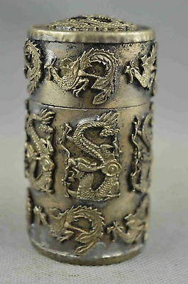 Collectible Handwork Miao Silver Carve Dragon & Phoenix Auspicious Toothpick Box