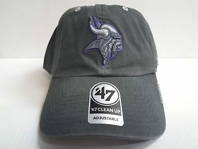 9edca9cf401a1 Minnesota Vikings 47 Brand Cap Adjustable Gray Ice Clean up Dad Hat NFL