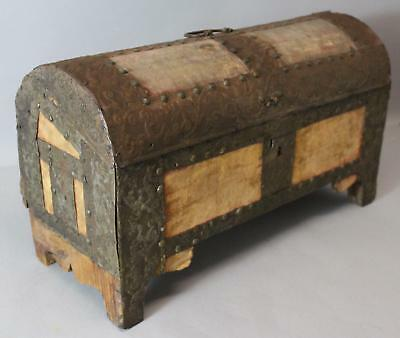 Small 18thC Antique Early Spanish Colonial Tin, Cloth & Wood, Dome Trunk. NR