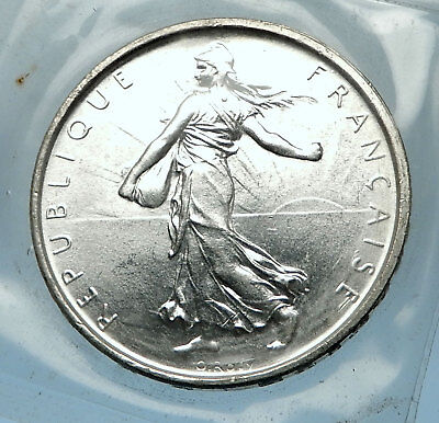 1964 FRANCE French LARGE Silver 5 Francs Coin w La Semeuse SOWER WOMAN i68204