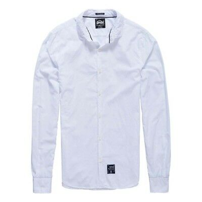 Superdry Fine Count Cut Away L/s Shirt Blu , Camicie Superdry , moda