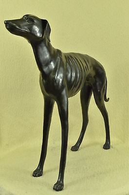 LARGE Vintage LIFE SIZE Old BRONZE GREYHOUND Whippet DOG Sculpture GARDEN STATUE