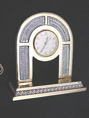 High-End Desktop Clock, Sandra of Paris France, Brass, Faux Diamonds