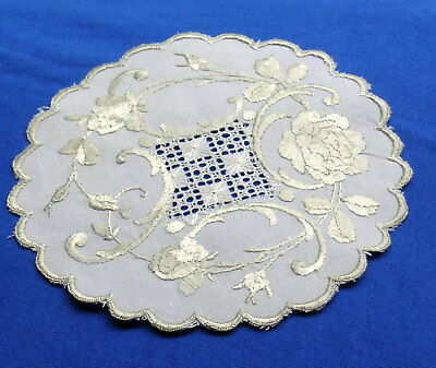 Rare Antique Silk Society Embroidered Lace Doily Coaster Light Roses