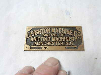 Vintage Leighton Machine Co. Manchester, NH--unused bronze serial # plates