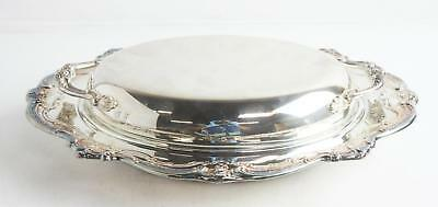 Gorham Silver Original Silver Plated Covered Glass Insert Serving Tray Platter